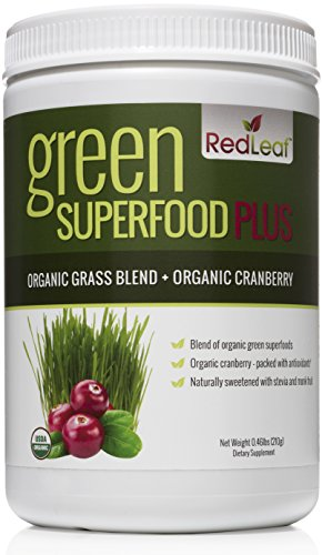 Red Leaf Green Superfood Plus - Organic Grass Blend Plus Organic Cranberry Supplement - Naturally Sweetened With Stevia and Organic Monk Fruit - Easy Mix Powder - 30 Servings (Wheatgrass Juice Powder Bulk compare prices)