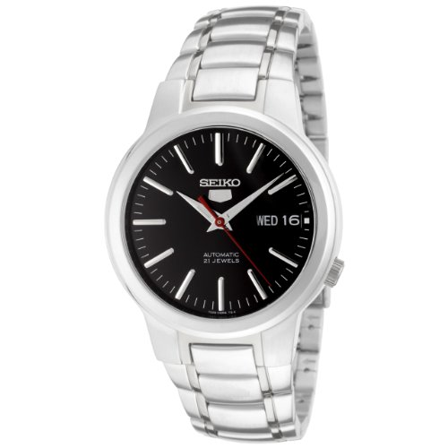 Seiko Men's 5 Automatic SNKA07K Silver Stainless-Steel Automatic Watch with Black Dial