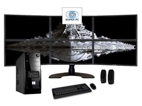 Super Pc | Six Monitor Computer And Six Samsung Led Display Array | Intel Core I7 | 16Gb Ddr3 | 512Gb Ssd | Windows 8.1 Pro | Complete System Package!