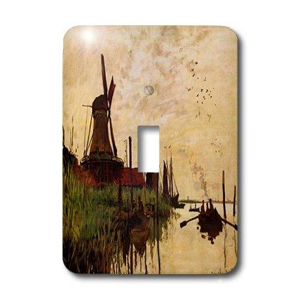 Florene - Monet Vintage Art - Print of Monet Painting Windmill At Zaandam - Light Switch Covers - single toggle switch (lsp_203693_1)