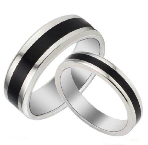 3Aries Fashion Silver Edge Simple Black Titanium Stainless Steel Women Wedding Lover Couple Ring Size 5