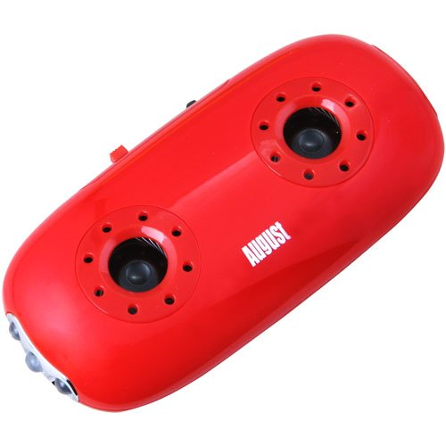 August MB100R Portable Stereo Speakers - MP3 Player with 3.5mm Audio In / Card Reader / LED Torch - Red