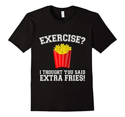 Men's EXERCISE? EXTRA FRIES Funny Gym T-Shirt Gift For Food Lovers 3XL Black (French Fry Tshirt compare prices)