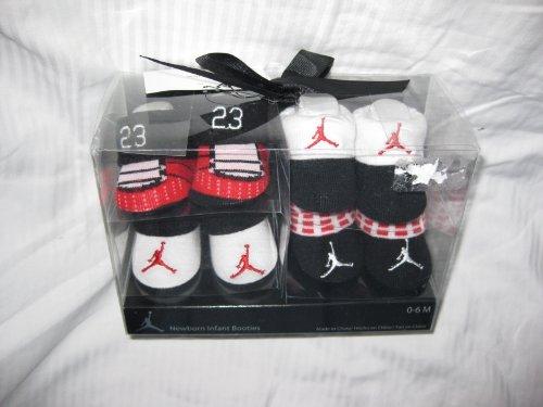 4-pairs Nike Air Jordan Booties Socks Crib Shoes 0-6m Baby Christmas Gift Red/white/black