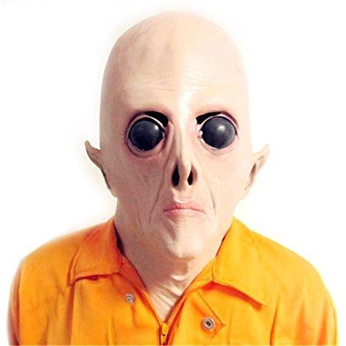 [SPOD® Creepy UFO Latex Alien Big Eyes Mask for Holloween Party (On promotion!)] (Latex Alien Mask)