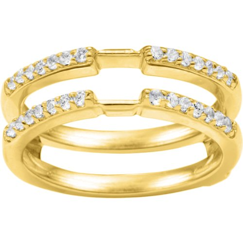 Wedding Ring Guard Set In Yellow Plated Sterling Silver (0.28 Ct. Cubic Zirconia)