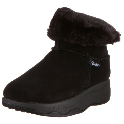 Skechers Women's Rythmic Fold Over Cuff Ankle Boot,Black Suede,7 M US