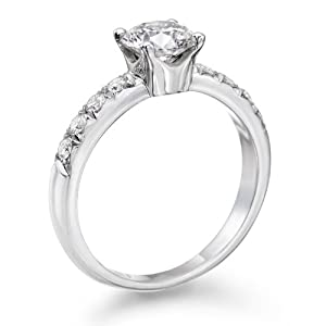 Diamond Engagement Ring in 14K Gold / White Certified, Round, 0.96 Carat, I Color, VS2 Clarity