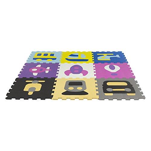 ColorBaby - Alfombra puzzle de goma eva transports, 58 piezas, 126 x 126 cm (43164)