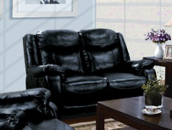 ACME 50096 Moreno Power Motion Bonded Leather Loveseat, Black
