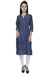 Blueberii Casual Printed Indigo Blue 3/4th Sleeve Women Kurti - Small