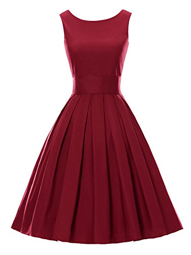 Luouse 'Lana' Vintage 1950's Inspired Rockabilly Swing Dress(Wine Red,Large)