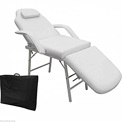 "Heavy Duty Steel Framed 73"" 3-Fold White Padded Portable Massage Table"