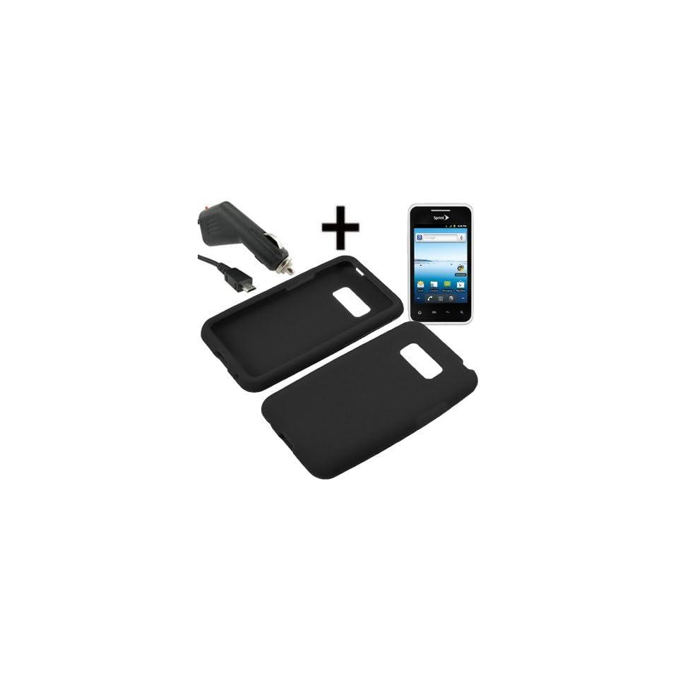 BW Soft Sleeve Gel Cover Skin Case for Virgin Mobile, Sprint LG Optimus Elite LS696 + Car Charger Black