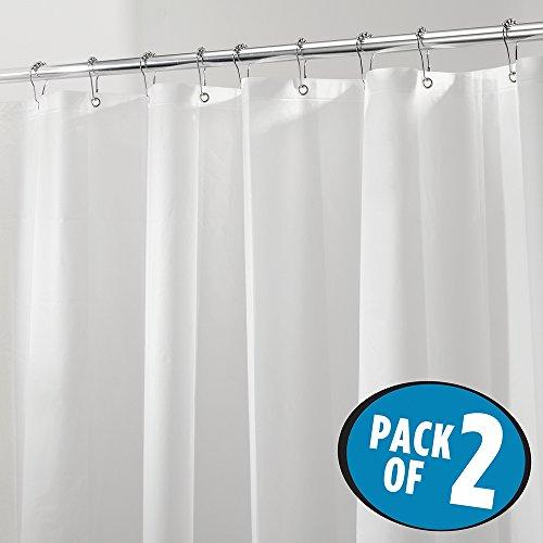 mDesign Mildew-Free PEVA 4.8 Gauge Shower Curtain Liner - Pack of 2, Stall, 54