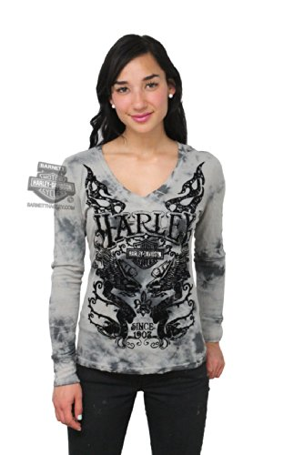 Harley-Davidson Womens Wing Royal Specialty Wash with Flocking Charcoal Long Sleeve T-Shirt - XL