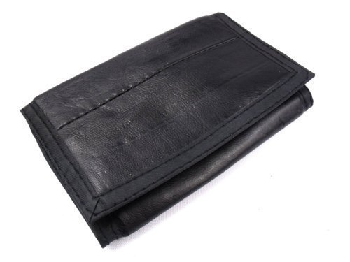 Men'S Black Leather Velcro Fastening Sports Wallet With Detachable Chain 1932