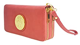 Canal Collection Double Zipper Around PVC Leather Wristlet Clutch Organizer Wallet with Emblem (Coral)
