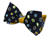 100% Silk Woven Navy and Gold Bar Circulation Patterned Reversible Self-Tie B...