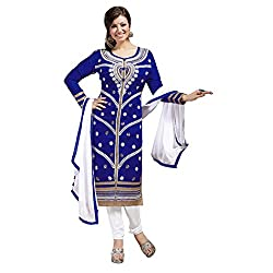 Manthan Chanderi Dark Blue Embroidered Women's Chudidar Suit MNTKFMFDRMG36108