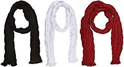 Ami Dupattas Women's Cotton Dupattas- Pack of 3 (White, Black and Maroon)