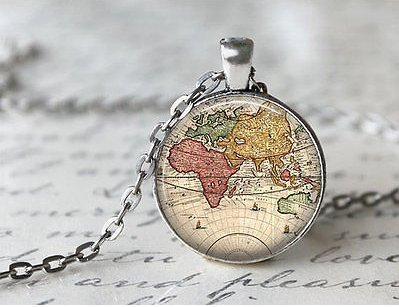 World Map Necklace, Antique Map Necklace, Globe Necklace (6)