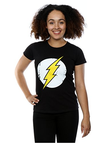 DC Comics Donna Flash Distressed Logo Maglietta X-Large Nero