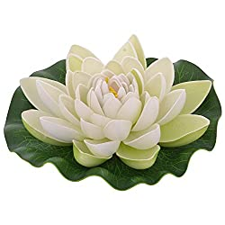 Veena Artificial Plastic Floating White Lotus with Rubber Leaf - Set of 3 (17 cms Diameter, White)