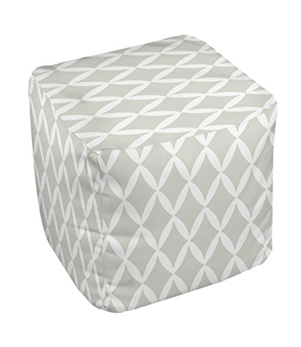 E by design FG-N1A-Oatmeal-13 Geometric Pouf - 1