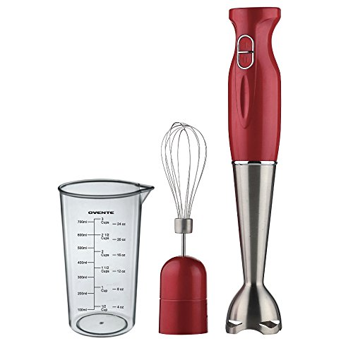Ovente HS583R Robust Stainless Steel Immersion Hand Blender with Beaker and Whisk Attachment, Red (Stainless Steel Immersion Blender compare prices)