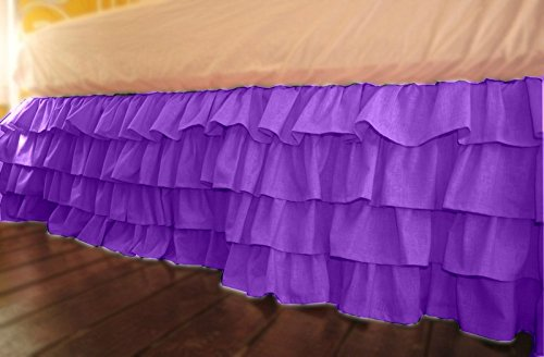 HotHaat New Collection 300 Thread Count 1 Piece 28 Drop Length Waterfall Ruffle Bed Skirt in Solid Lilac Full Size 100% Organic Cotton short queen size 800 thread count 100
