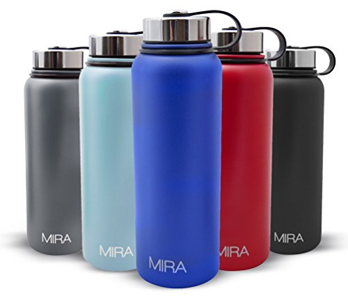 MIRA Insulated Double Wall Vacuum Stainless Steel Water Bottle, 40 oz, Blue-Powder Coated (Metal Water Bottle Lid compare prices)
