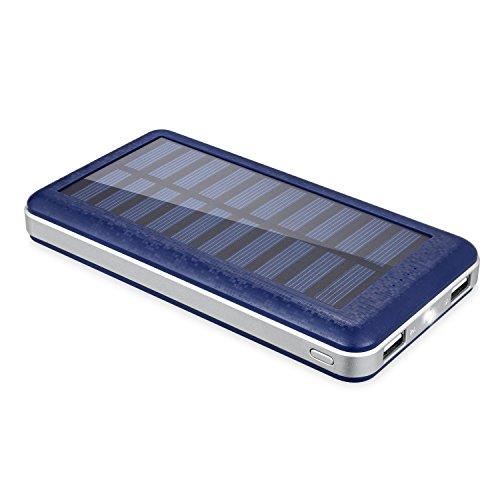 Aedon モバイルバッテリー 超大容量20000mAh ソーラーチャージャー 2USB出力ポート 二つの充電方法 iPhone、iPad、iPod、Samsung、Sony、HTCデバイスなどに充電できる 旅行・ハイキング・災害が必要なもの 青色