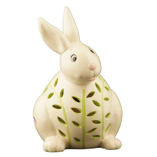 Flipo Solar Illuminated Color Changing Solar Light in Ceramic Figurine, Rabbit