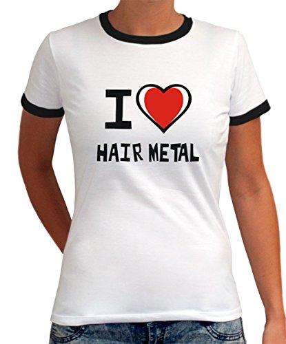 Maglietta Ringer da Donna I love Hair Metal