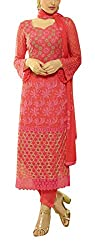 Sara Fashion Women's Georgette Unstitched Dress Material (Pink)