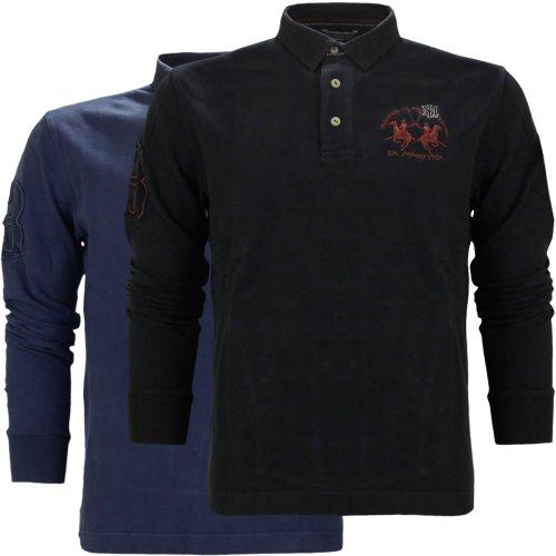 La Martina Men's Numbered Long Sleeve Polo T-Shirt Black (Medium)