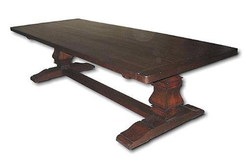 New Plank Top Table 10' Rectangle Country Farmhouse Dining Table Rustic Walnut by EuroLux Home