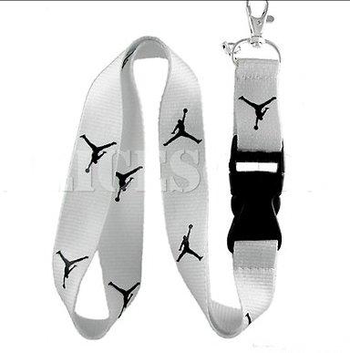 Michael Jordan Lanyard Jumpman Logo White / Black Keychain Holder New*