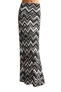Women'S Poly Span Multi Color Chevron Print Maxi Skirt - B83 Black & White S