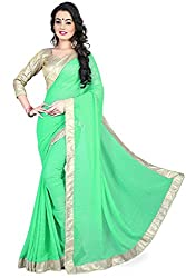 Needle Impression Light Green Georgette Saree (7064_Light Green)