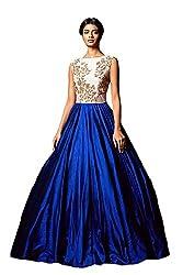 Shiv Fashion Women's Benglori Silk Blue & White Semi - Stitched Gown