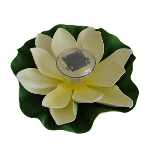 Enjoydeal White Solar Powered LED Multi-color Pond Garden Pool Floating Lotus Flower Night Light Lamp