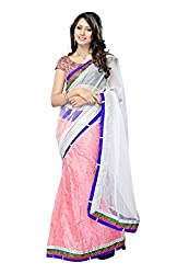Offo Deals Womens Net Saree ( TM-14_Pink and White_Freesize)