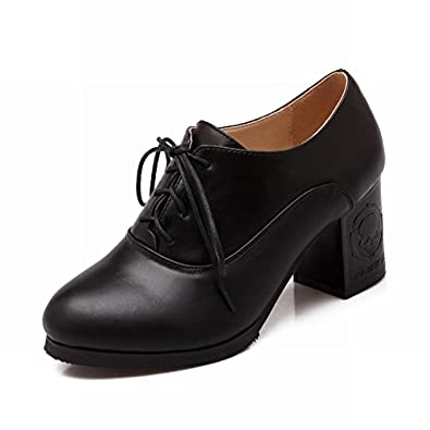 Kellytb Womens Casual Mid-heel Chunky Lace-up Leather ...