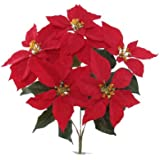 "1 20"" Artificial Silk Poinsettia Bush w/ 5 Flowers"