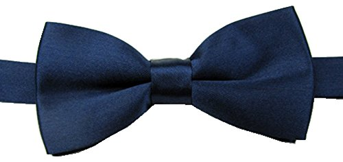 EachWell Solid Color Rayon Boys Kids Adjustable Bow tie Holiday Party Dress up Navy Blue (Baby Boy Ties compare prices)
