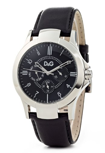 D & G Texas Men's Quartz Watch DW0532 With Black Multi Function Dial, Stainless Steel Case And Black Leather Strap