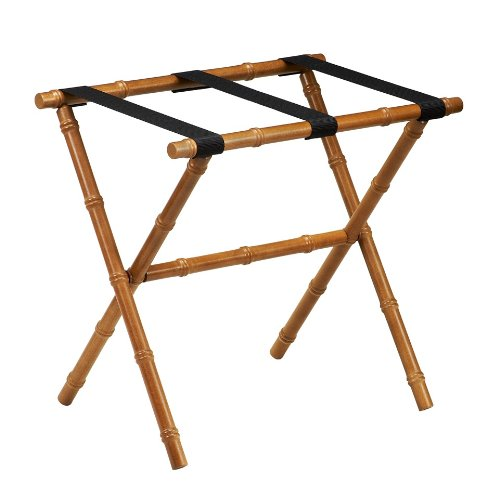 Image of Gate House Furniture Item 1174 Chestnut Bamboo Shaped Straight Leg Luggage Rack with 3 Black Nylon Straps 23 by 13 by 20-Inch