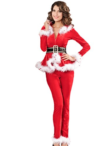 Miss Santa Hoodied Christmas Dress Fancy Wear 3 Piece Adult Womens Outfit Dress